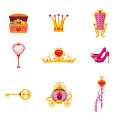 set fairy world princess elements and attributes vector image