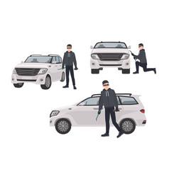 set hijacker wearing black clothes and mask vector image