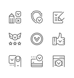 set line icons approval vector image