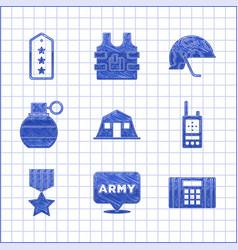 Set military barracks army dynamite bomb walkie vector