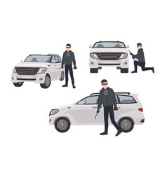 Set of hijacker wearing black clothes and mask vector