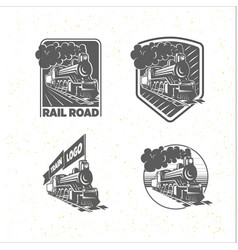 Set of templates with a locomotive vintage train vector