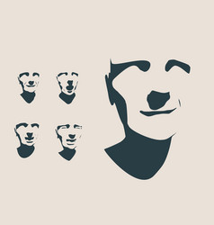 Silhouettes collection of a humans head vector