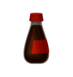 Soy sauce glass bottle on a vector