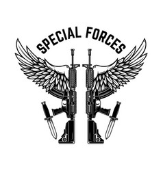 Special forces ar-15 assault rifles with wings vector