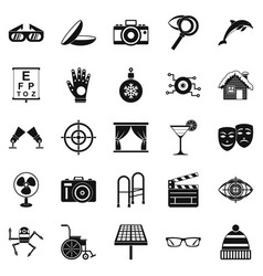 Specs icons set simple style vector