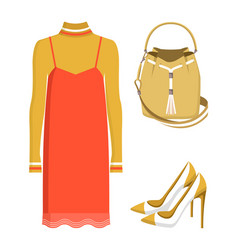 summer mode dress and bag vector image