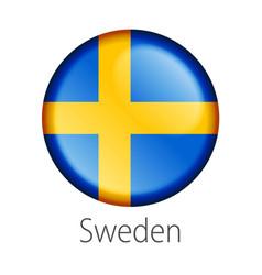 Sweden round button flag vector