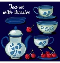 tea set porcelain on a blue background vector image