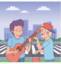 Teenagers friends smiling and having fun cartoon vector