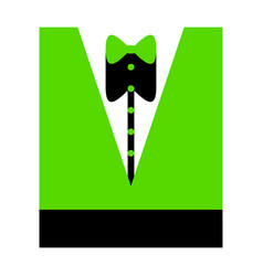 tuxedo with bow silhouette green 3d icon vector image