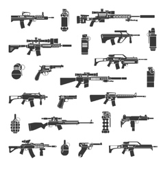 Weapon icons and military or war signs vector