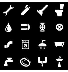 White plumbing icon set vector