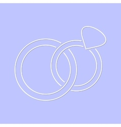 White simple wedding rings icon vector