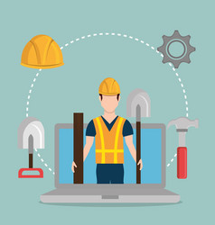Worker under construction with laptop vector