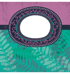 circle label over floral background vector image vector image