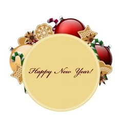 New Year decor Ball candy ginger cookies anise vector image