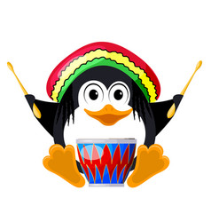 penguin with a drum in a beret the little penguin vector image