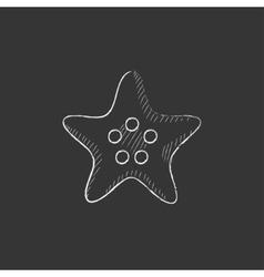 Starfish Drawn in chalk icon vector image