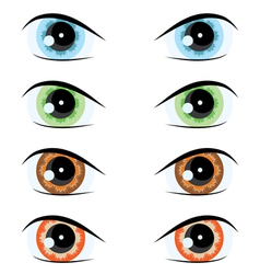 cartoon eyes of different colors set for the desig vector image