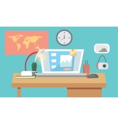 Flat design interior concept of work place with vector image vector image