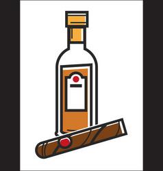 Rum and cigar cuba travel popular destination vector