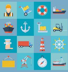 ship port icon set vector image