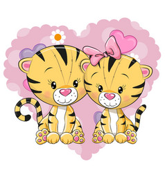 two cute tigers vector image vector image