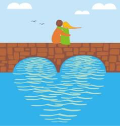 valentine on bridge vector image vector image