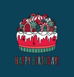 Birthday cake hand drawn doodle navy vector