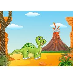 Cartoon happy dinosaur with prehistoric background vector image vector image