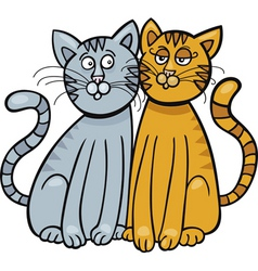 cartoon illustration of two cats in love vector image vector image