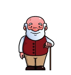 Old man holding a cane vector image vector image