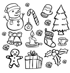 set of christmas doodle- hand drawn vector image