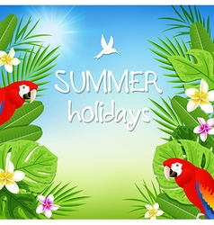 Tropical flowers and red parrots vector image