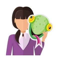 Woman with Chameleon Mask Flat Design vector image vector image