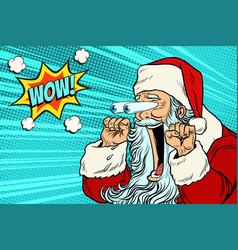 wow santa claus christmas character emotional vector image vector image