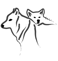 Dogs or Wolfs silhouettes vector image vector image