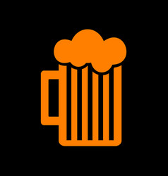 Glass of beer sign orange icon on black vector