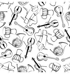Music instruments art seamless pattern vector image