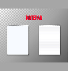 notepad set realistic empty notepad template open vector image vector image