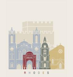 rhodes skyline poster vector image vector image