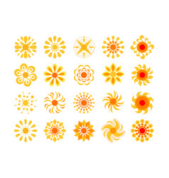 yellow sun icon set isolated on white vector image