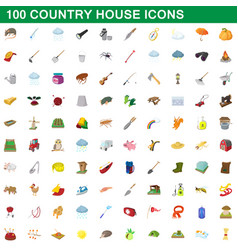 100 country house icons set cartoon style vector image