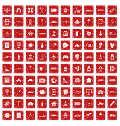 100 development icons set grunge red vector image