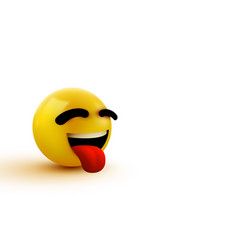 3d emoji smiling face with stuck-out tongue vector