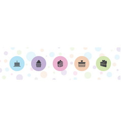 5 cake icons vector