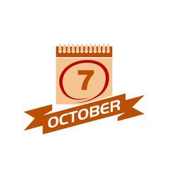 7 october calendar with ribbon vector