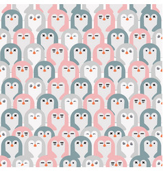 adorable penguins seamless pattern vector image