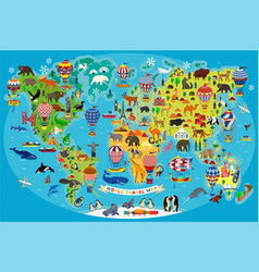 Animal map world with air balloons for vector